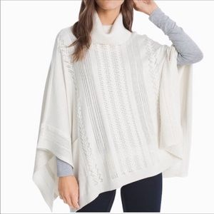 WHBM turtleneck poncho knit sweater solid white